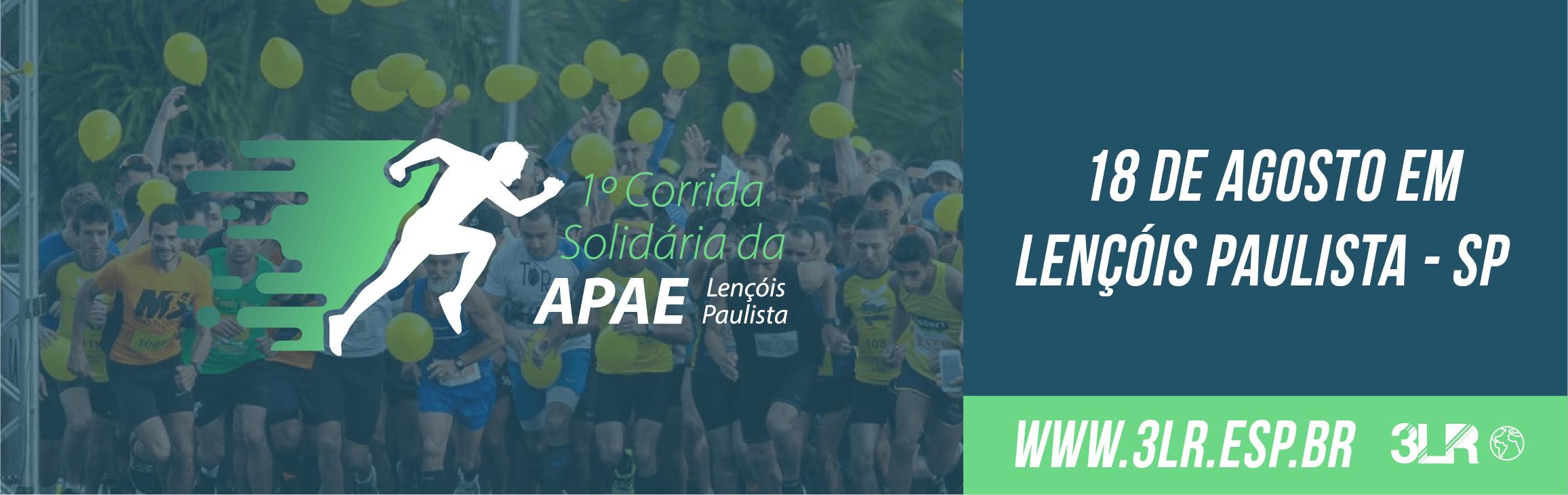 9abbafdba2fa DATA: A 1ª CORRIDA SOLIDÁRIA APAE DE LENÇÓIS PAULISTA será realizada no  domingo, dia 18 de agosto de 2019.